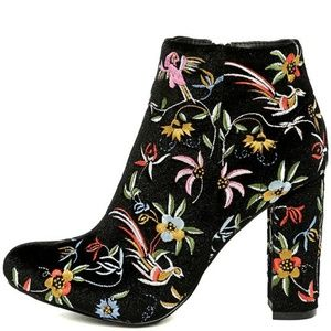 Embroidered Black Floral Booties